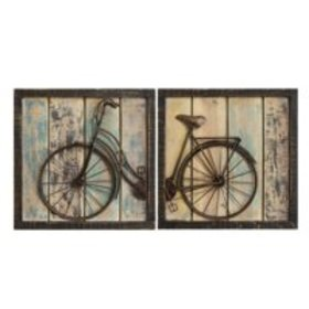 Stratton Home Décor Set of 2 Rustic Bicycle Wall D
