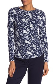 Nicole Miller Blueprint Floral Print Long Sleeve T