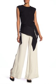 Nicole Miller Sleeveless Solid Silk Asymmetrical B