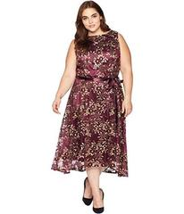 Tahari by ASL Plus Size Embroidered Mesh Midi Dres