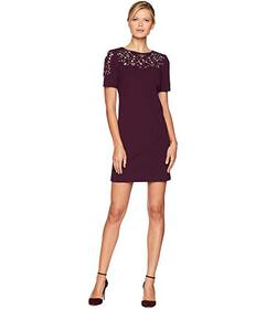 Calvin Klein Short Sleeve Embroidered Sheath Dress