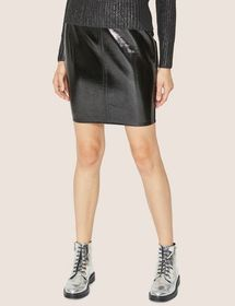 SEAMED PATENT PENCIL SKIRT