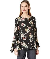 Vince Camuto Flared Sleeve Floral Story Blouse