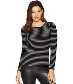 Vince Camuto Long Sleeve Puff Shoulder Thin Ribbed