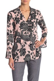 Jones New York Floral Print Neck Tie Blouse