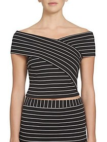 Wrap Front Striped Cropped Top BLACK