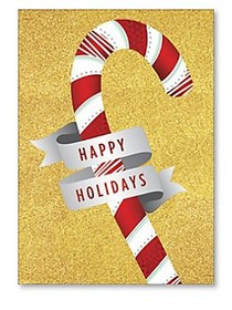 Happy Holidays Candy Cane Gift Card Holder GOLD
