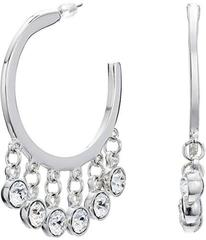 Kenneth Jay Lane Silver\u002FCrystal Drops Pierced