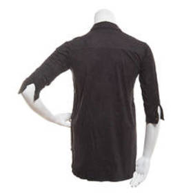 French Laundry 3/4 Sleeve Button Down Faux Suede T