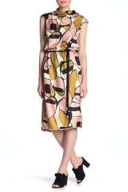 Marc Jacobs Patterned Cowl Neck Silk Midi Dress