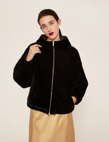 REVERSIBLE HOODED VELVET BOMBER