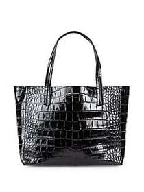 Violet Embossed Leather Tote BLACK