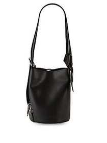 Strappy Leather Bucket Bag BLACK