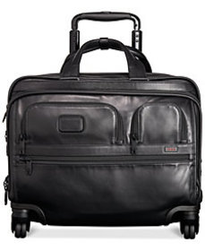 Tumi Alpha Leather Deluxe Spinner Laptop Briefcase