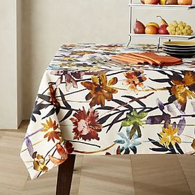 Suki Natural Floral Print Tablecloth