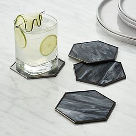 Hex Glass Coasters, Set of 4