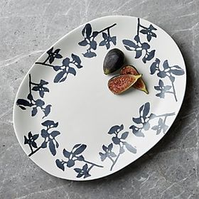 Midnight Botanical Black and White Platter