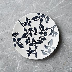 Midnight Botanical Black and White Salad Plate