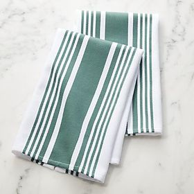 Cuisine Stripe Spruce Dish Towels, Set of 2