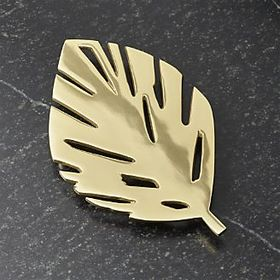 Gold Brushed Leaf Trivet