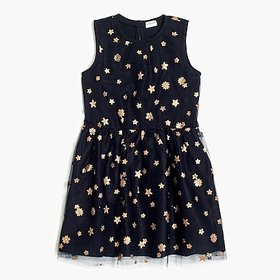 Girls' tulle-overlay dress with glitter stars and