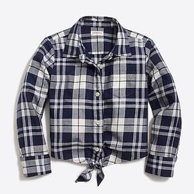 Girls' long-sleeve tie-front flannel shirt