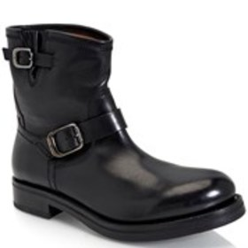 Mens Leather Double Buckle Engineer Boots