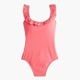 Ruffled scoopback one-piece swimsuit