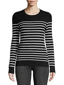 Striped Crewneck Cashmere Sweater EBONY