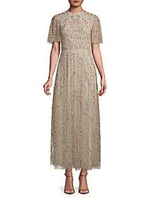 Short-Sleeve Embroidered Maxi Dress AVORIO