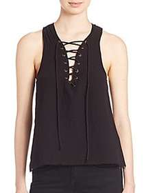 Lace-Up Cotton Top BLACK