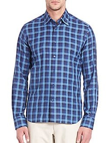Windowpane Checked Long Sleeve Shirt BLUE