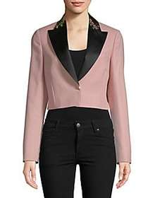 Embroidered Collar Cropped Jacket ROSE CLAIR