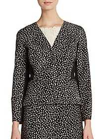 Calf Hair Dot-Print Blazer BLACK WHITE