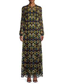 Star Embroidery Long-Sleeve Long Dress MULTI