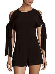 Divinity Cold Shoulder Ribbon Romper BLACK