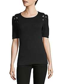 Lace Grommet Top BLACK