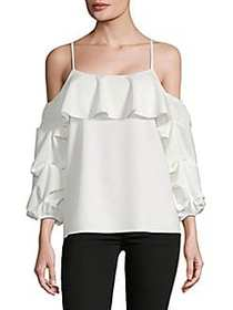 Balloon Sleeve Cold-Shoulder Top IVORY