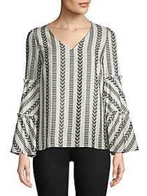 Hector Stripe Statement Sleeve Top BLACK