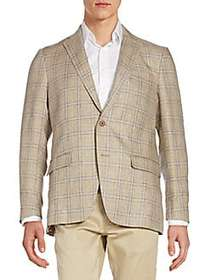 Regular-Fit Plaid Linen Sportcoat TAN