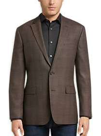 Awearness Kenneth Cole Brown Windowpane Slim Fit S