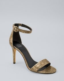 Foil-Suede Strappy Heels
