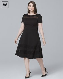 Plus Banded Black Fit-and-Flare Dress