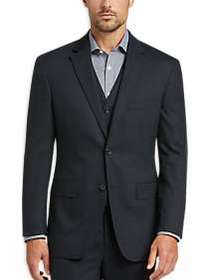 Awearness Kenneth Cole Navy Plaid Slim Fit Vested