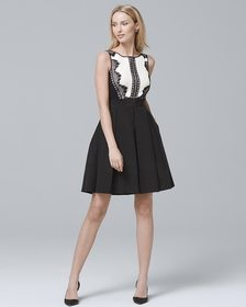 Lace Tuxedo Fit-and-Flare Dress