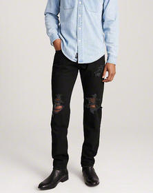 Ripped Skinny Jeans, BLACK WASH RIPPED