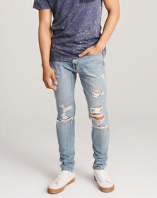 Ripped Super Skinny Jeans, LIGHT WASH RIPPED
