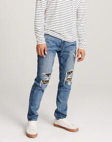 Ripped Athletic Skinny Jeans, RIPPED MEDIUM WASH W