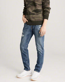 Ripped Skinny Jeans, REPAIRED MEDIUM WASH