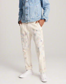 Straight Painter Jeans, CREAM WITH PAINT